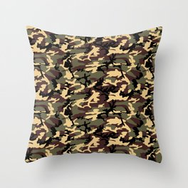 Green Brown Camouflage Pattern Throw Pillow