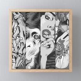 Dope four panels of animal, human skulls and robots black-and-white illustration Framed Mini Art Print
