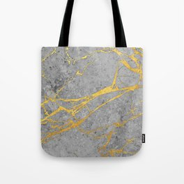 Grey Marble and Gold Tote Bag