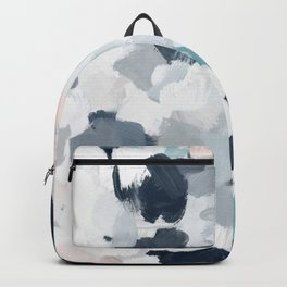 Navy Indigo Blue Blush Pink Gray Mint Abstract Air Clouds Art Sky Painting Backpack