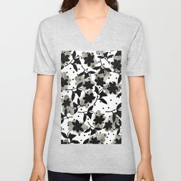 Modern abstract black  silver brushstrokes dots floral  Unisex V-Neck
