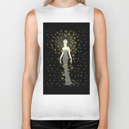"Art Deco Sepia Illustration ""Star Studded Glamor"" Biker Tank"