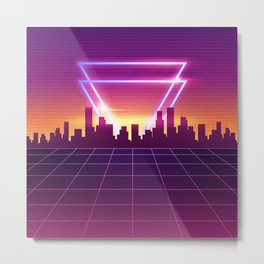 Future Cityscape Synthwave Metal Print