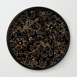 Gold Roses II Wall Clock