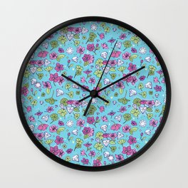 Flowers, Clovers & Diamonds Wall Clock
