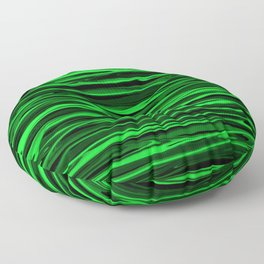 Lime Green and Black Stripes Floor Pillow