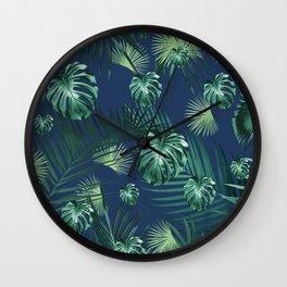 Tropical Jungle Night Leaves Garden #2 #tropical #decor #art #society6 Wall Clock