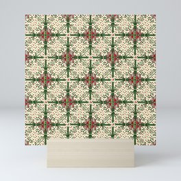 Vintage Christmas Pattern Red and Green Mini Art Print
