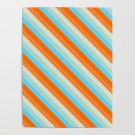 Goldfish Diagonal Striped Pattern Poster