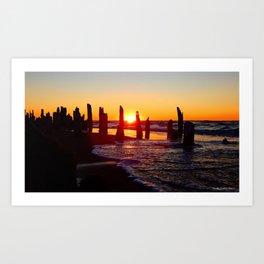 Stunning sunset through the sticks Art Print