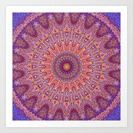 Purple Orange Red Burst Mandala 012018 Art Print
