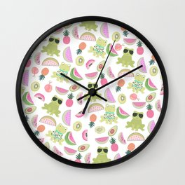 Cool green funny frog pink tropical watercolor fruit pattern Wall Clock