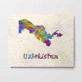 Uzbekistan  in watercolor Metal Print