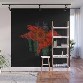 Deepest Bold Red Boho Floral Mandala Hummingbird Print Wall Mural