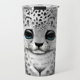 Cute Snow leopard Cub Dj Wearing Headphones Travel Mug
