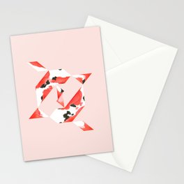 Tangram Koi - Pink background Stationery Cards