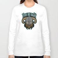 skyrim Long Sleeve T-shirts featuring fus ro dah by Buby87