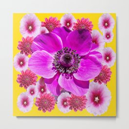 DECORATIVE  PURPLE PINK  MODERN FLORAL ART Metal Print