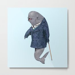 Animals in Suits - Porpoise Metal Print