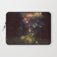 Train Tracks Next Stop Anywhere Dark Laptop Sleeve