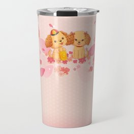dog couple sweet sakura Travel Mug