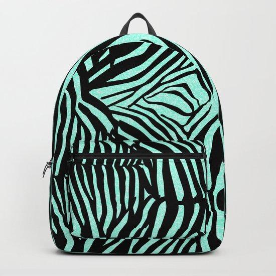 Blue & Black Glitter Zebra Print Backpack