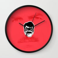 tom selleck Wall Clocks featuring Tom Selleck by dann matthews