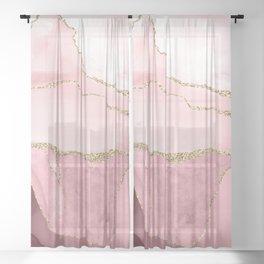 Blush Marble Art Landscape Sheer Curtain