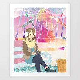 Windmill reading girl Art Print