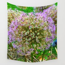 Purple Flower Close Up of Alliums Welcome to Boston Common Wall Tapestry