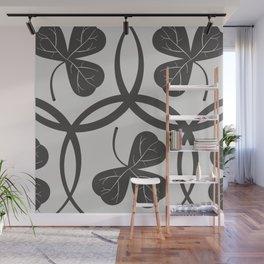 Grey Clover Pattern Wall Mural