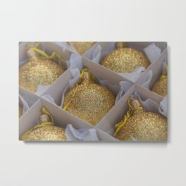 Time For Golden Christmas Balls Metal Print