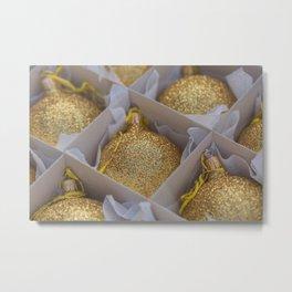 Time For Golden Christmas Balls Metal Print