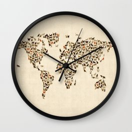 Cats Map of the World Map Wall Clock