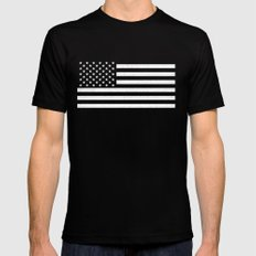 USA flag - HiDef Super Grunge Patina Mens Fitted Tee Black MEDIUM