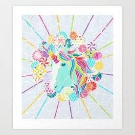 Laser Beam Rainbow Unicorn Papercut Art Print