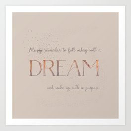 Always remember to fall asleep with a dream - Gold Vintage Glitter Typography Art Print
