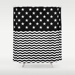 USA (Black/White) Shower Curtain