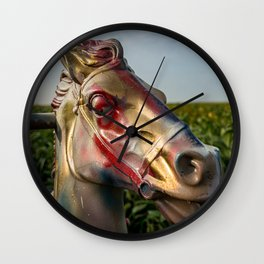 Hobby Horse in a Corn Field Route 66 Illinois Wall Clock