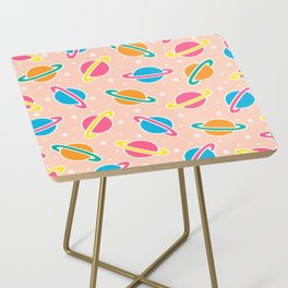 Space Planets Pattern in Pink Side Table