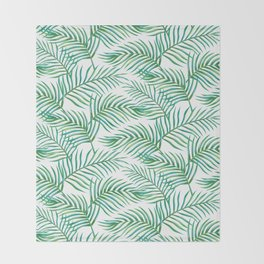 Palm Leaves_Bg White Throw Blanket