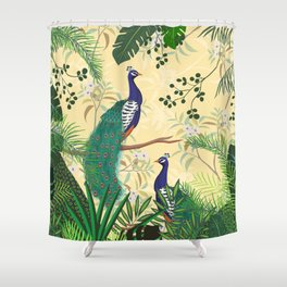 Tropical Floral Jungle Garden, Green and Yellow Shower Curtain