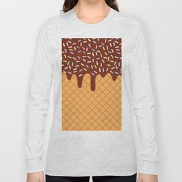 waffles with flowing chocolate sauce and sprinkles Long Sleeve T-shirt