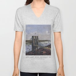 NEW YORK  East River BRIDGE city old map Father Day art print poster Unisex V-Neck