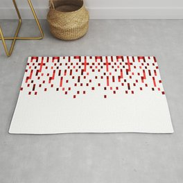 Red and White Matrix Patterned Design Rug