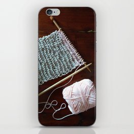 knitting, knitting photos, oatmeal color, peach, natural color, scarf, cotton iPhone Skin
