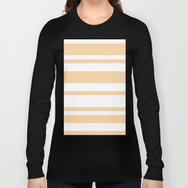 Mixed Horizontal Stripes - White and Sunset Orange Long Sleeve T-shirt