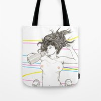 drink Tote Bags featuring Let's drink! by Cisternas