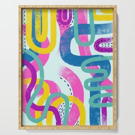 Fun bright abstract art Serving Tray