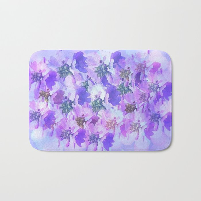 Painterly Glowing Floral Abstract Bath Mat
